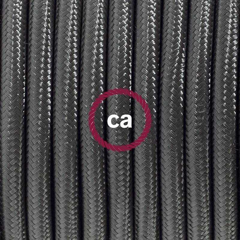 Cableado para lámpara de mesa, cable RM26 Rayón Gris Oscuro 1,8 m. Elige el color de la clavija y del interruptor!