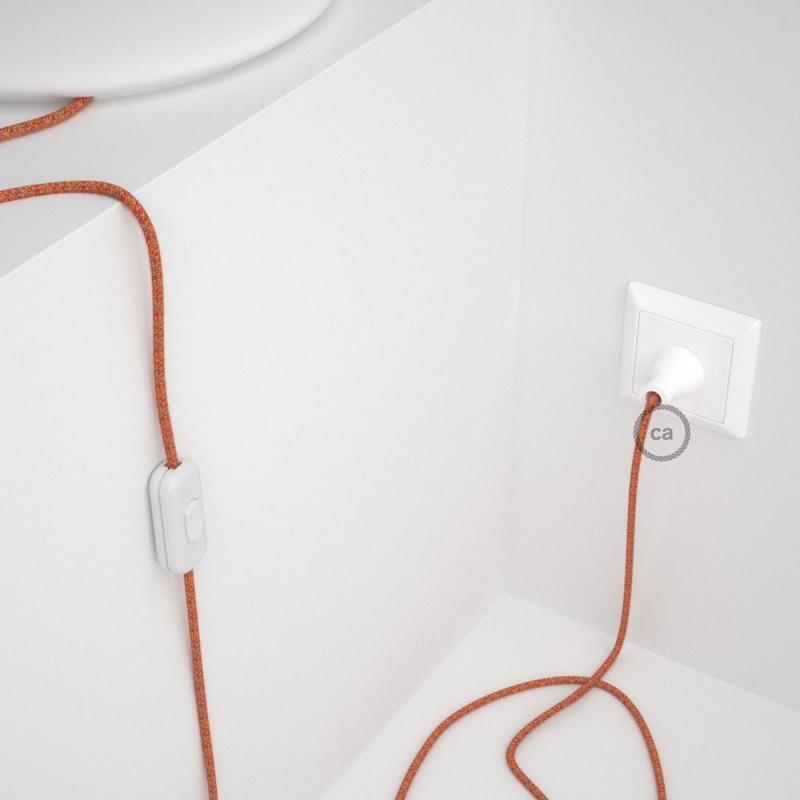 Cableado para lámpara de mesa, cable RX07 Algodón Indian Summer 1,8 m. Elige el color de la clavija y del interruptor!