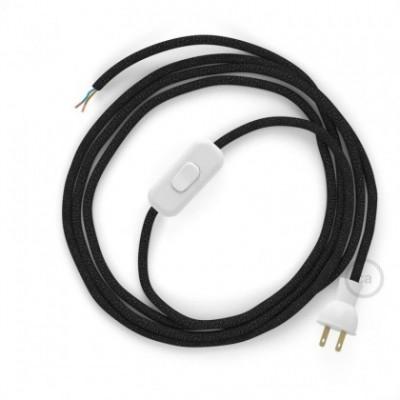 Cableado para lámpara de mesa, cable RL04 Rayón Brillante Negro 1,8 m. Elige el color de la clavija y del interruptor!