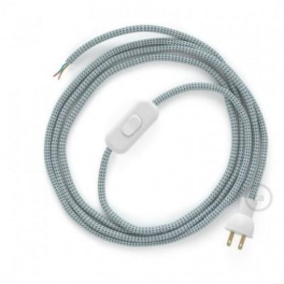 Cableado para lámpara de mesa, cable RT14 Rayón Stracciatella 1,8 m. Elige el color de la clavija y del interruptor!