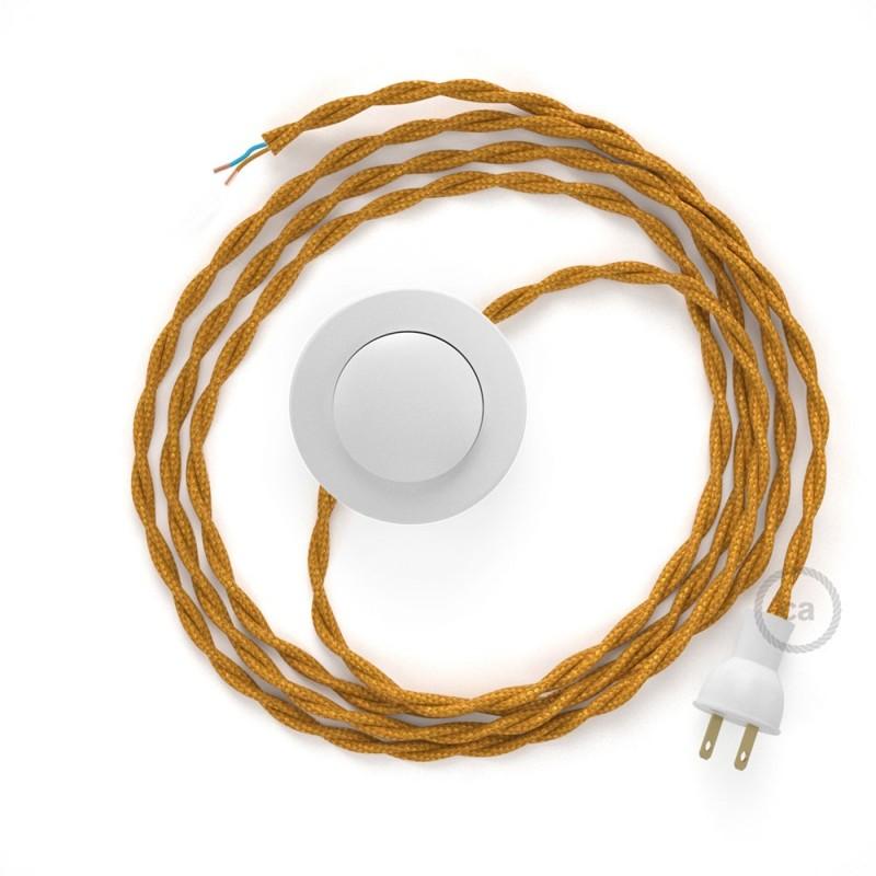 Cableado para lámpara de piso, cable TM05 Rayón Dorado 3 m. Elige tu el color de la clavija y del interruptor!