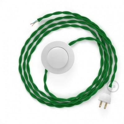 Cableado para lámpara de piso, cable TM06 Rayón Verde 3 m. Elige tu el color de la clavija y del interruptor!