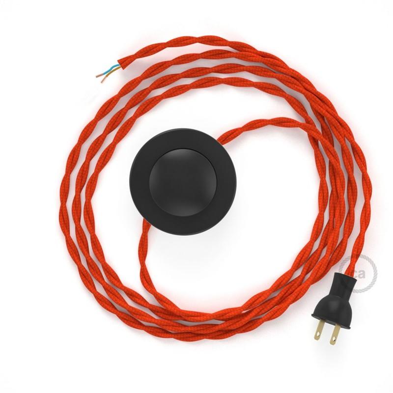 Cableado para lámpara de piso, cable TM15 Rayón Naranja 3 m. Elige tu el color de la clavija y del interruptor!