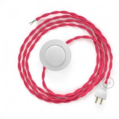 Cableado para lámpara de piso, cable TM08 Rayón Fucsia 3 m. Elige tu el color de la clavija y del interruptor!