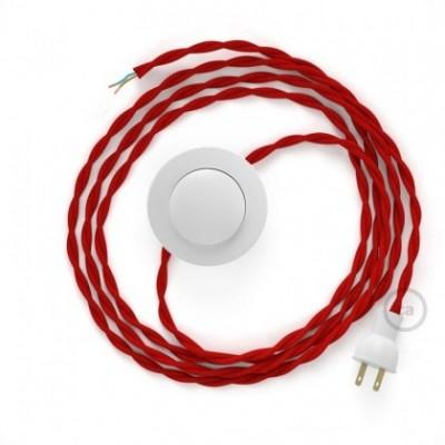 Cableado para lámpara de piso, cable TM09 Rayón Rojo 3 m. Elige tu el color de la clavija y del interruptor!