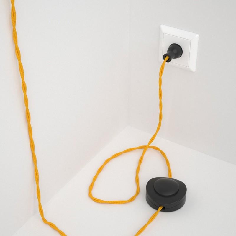 Cableado para lámpara de piso, cable TM10 Rayón Amarillo 3 m. Elige tu el color de la clavija y del interruptor!