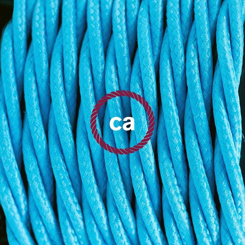 Cableado para lámpara de piso, cable TM11 Rayón Celeste 3 m. Elige tu el color de la clavija y del interruptor!