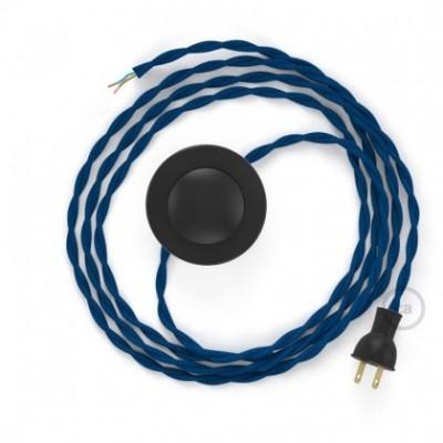 Cableado para lámpara de piso, cable TM12 Rayón Azul 3 m. Elige tu el color de la clavija y del interruptor!