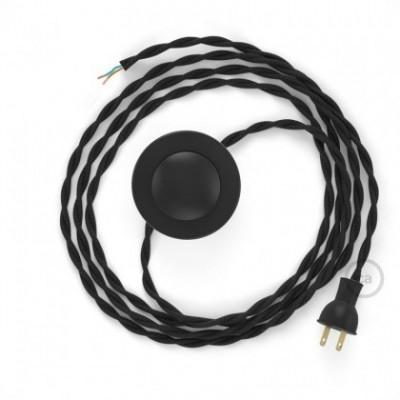 Cableado para lámpara de piso, cable TM04 Rayón Negro 3 m. Elige tu el color de la clavija y del interruptor!