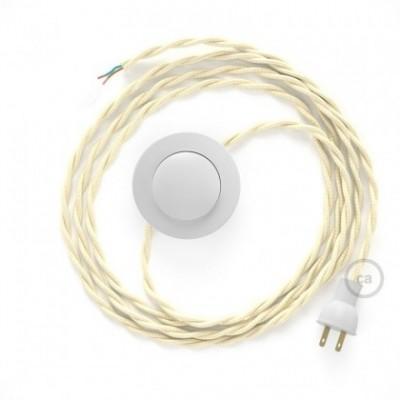 Cableado para lámpara de piso, cable TM00 Rayón Marfil 3 m. Elige tu el color de la clavija y del interruptor!