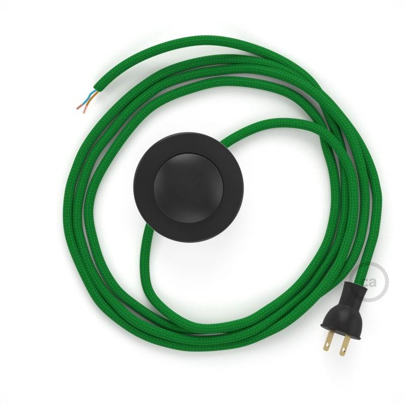 Cableado para lámpara de piso, cable RM06 Rayón Verde 3 m. Elige tu el color de la clavija y del interruptor!