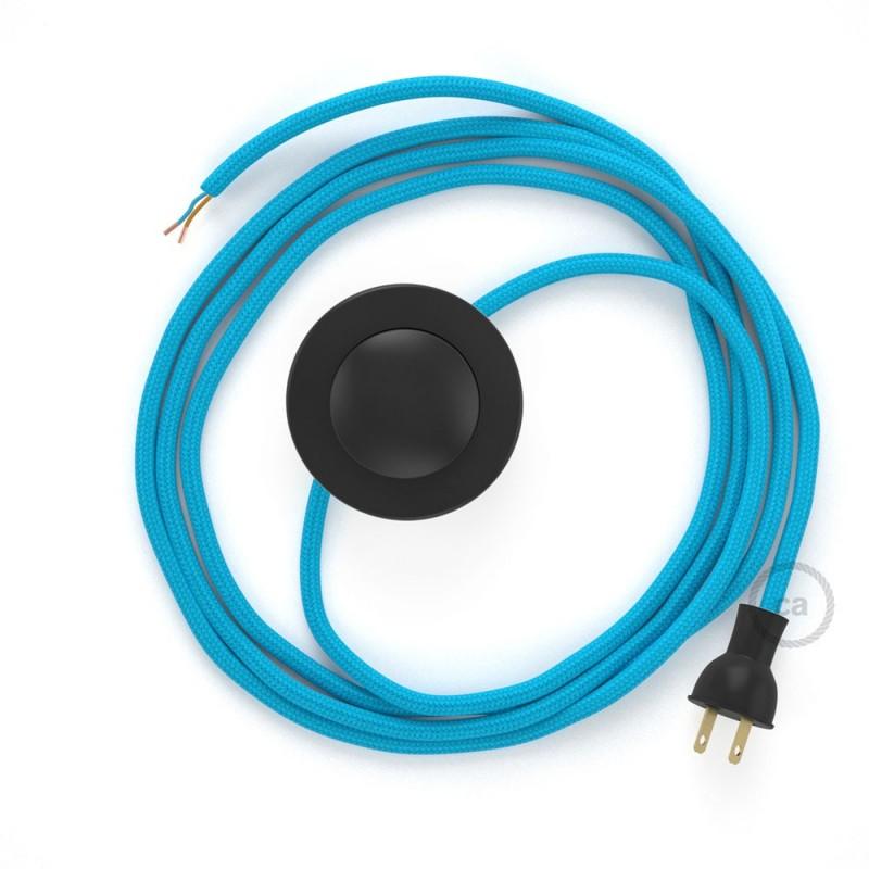 Cableado para lámpara de piso, cable RM11 Rayón Celeste 3 m. Elige tu el color de la clavija y del interruptor!