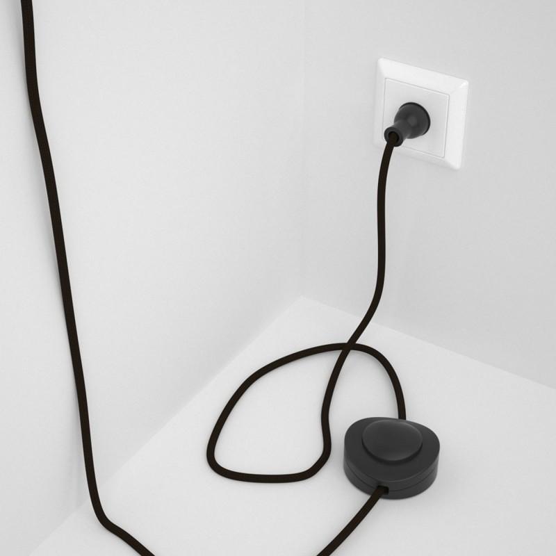 Cableado para lámpara de piso, cable RM13 Rayón Café 3 m. Elige tu el color de la clavija y del interruptor!