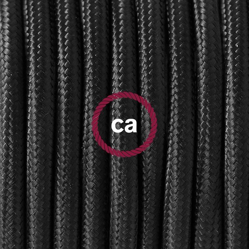 Cableado para lámpara de piso, cable RM04 Rayón Negro 3 m. Elige tu el color de la clavija y del interruptor!