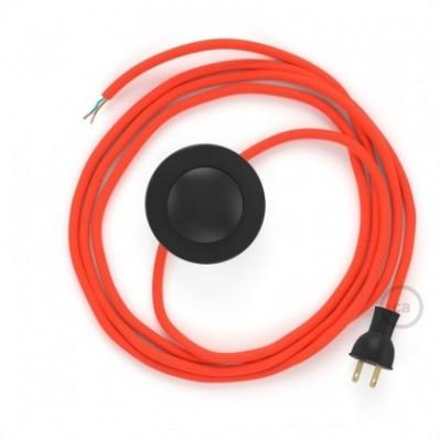 Cableado para lámpara de piso, cable RF15 Rayón Naranja Fluorescente 3 m. Elige tu el color de la clavija y del interruptor!