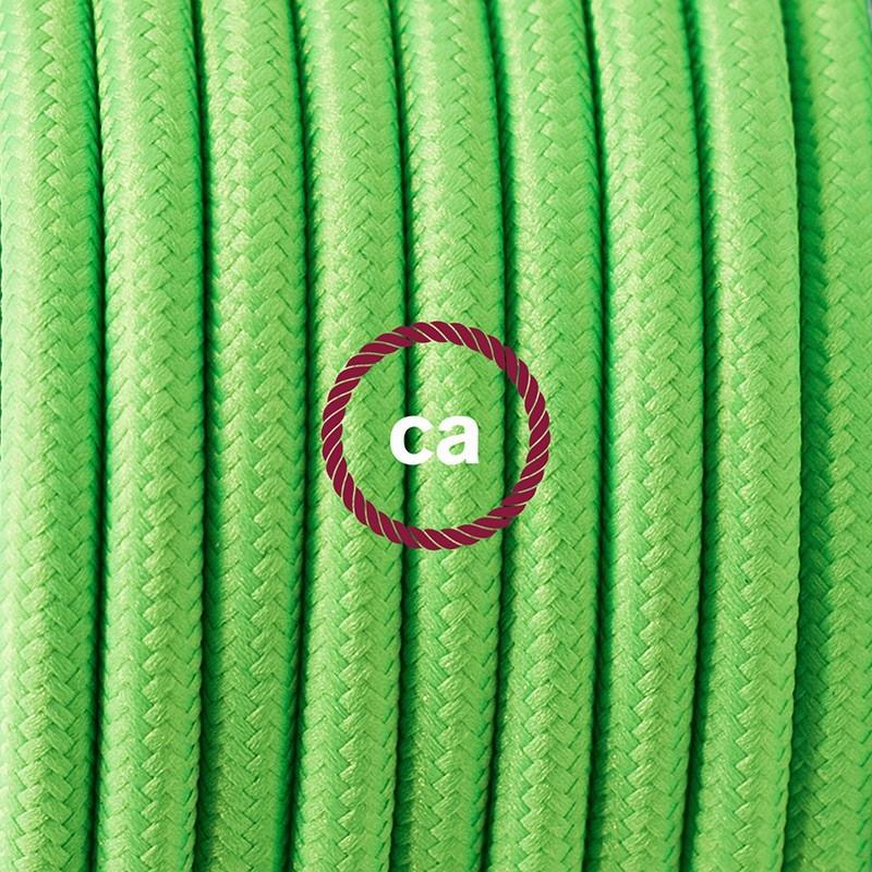 Cableado para lámpara de piso, cable RF06 Rayón Verde Fluorescente 3 m. Elige tu el color de la clavija y del interruptor!