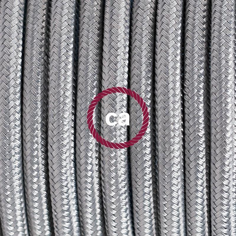 Cableado para lámpara de piso, cable RM02 Rayón Plateado 3 m. Elige tu el color de la clavija y del interruptor!