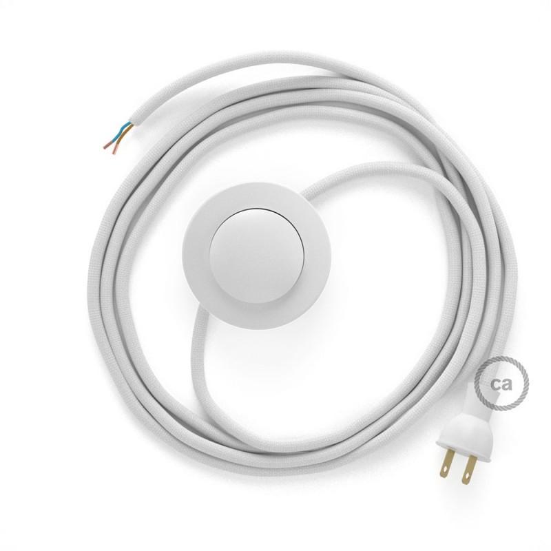 Cableado para lámpara de piso, cable RM01 Rayón Blanco 3 m. Elige tu el color de la clavija y del interruptor!