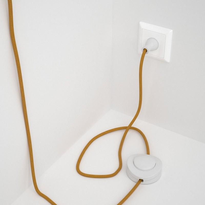 Cableado para lámpara de piso, cable RM05 Rayón Dorado 3 m. Elige tu el color de la clavija y del interruptor!