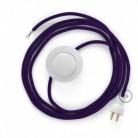 Cableado para lámpara de piso, cable RM14 Rayón Púrpura 3 m. Elige tu el color de la clavija y del interruptor!
