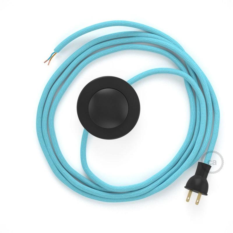 Cableado para lámpara de piso, cable RM17 Rayón Celeste Bebé 3 m. Elige tu el color de la clavija y del interruptor!