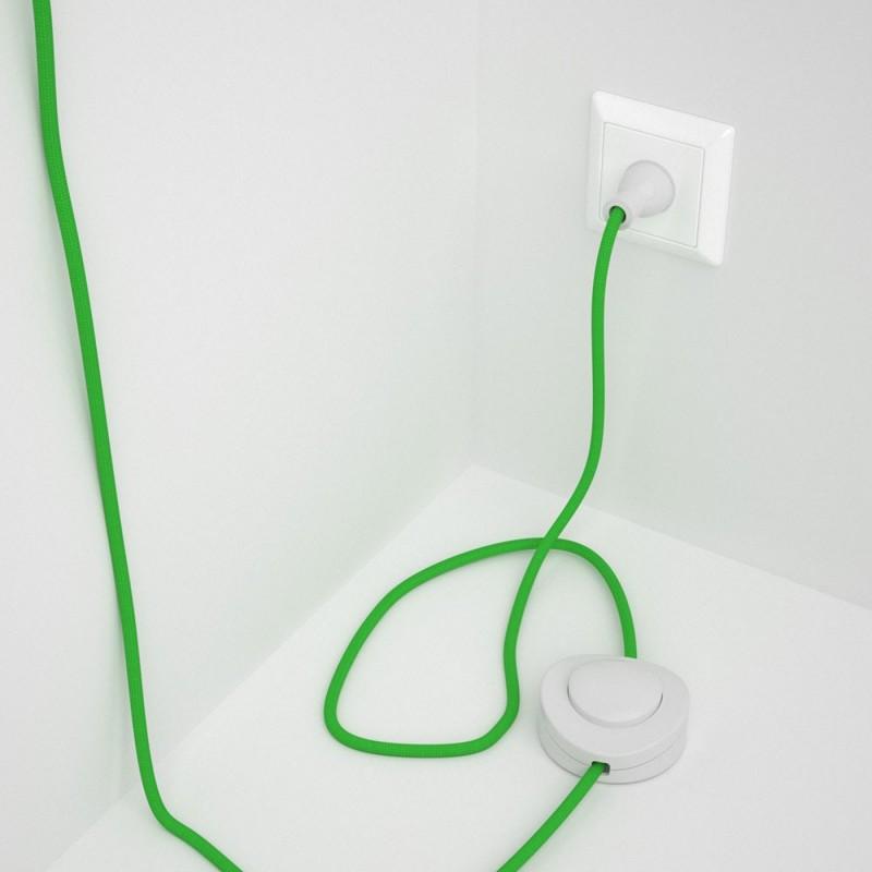 Cableado para lámpara de piso, cable RM18 Rayón Verde Lima 3 m. Elige tu el color de la clavija y del interruptor!