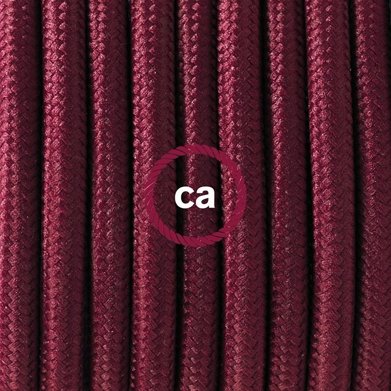 Cableado para lámpara de piso, cable RM19 Rayón Burdeos 3 m. Elige tu el color de la clavija y del interruptor!