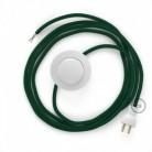 Cableado para lámpara de piso, cable RM21 Rayón Verde Oscuro 3 m. Elige tu el color de la clavija y del interruptor!