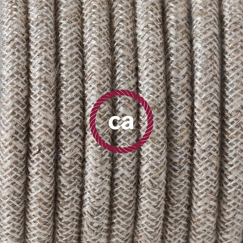 Cableado para lámpara de piso, cable RN01 Lino Natural Neutro 3 m. Elige tu el color de la clavija y del interruptor!