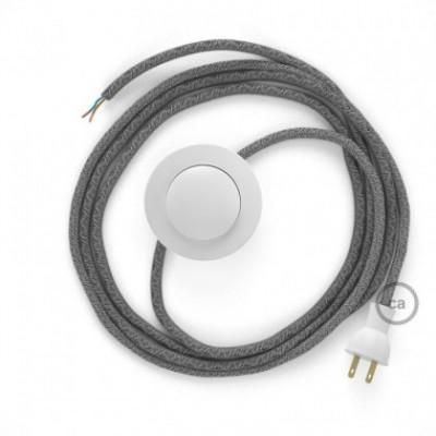 Cableado para lámpara de piso, cable RN02 Lino Natural Gris 3 m. Elige tu el color de la clavija y del interruptor!