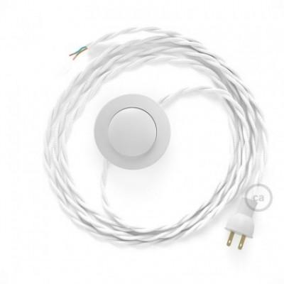 Cableado para lámpara de piso, cable TM01 Rayón Blanco 3 m. Elige tu el color de la clavija y del interruptor!