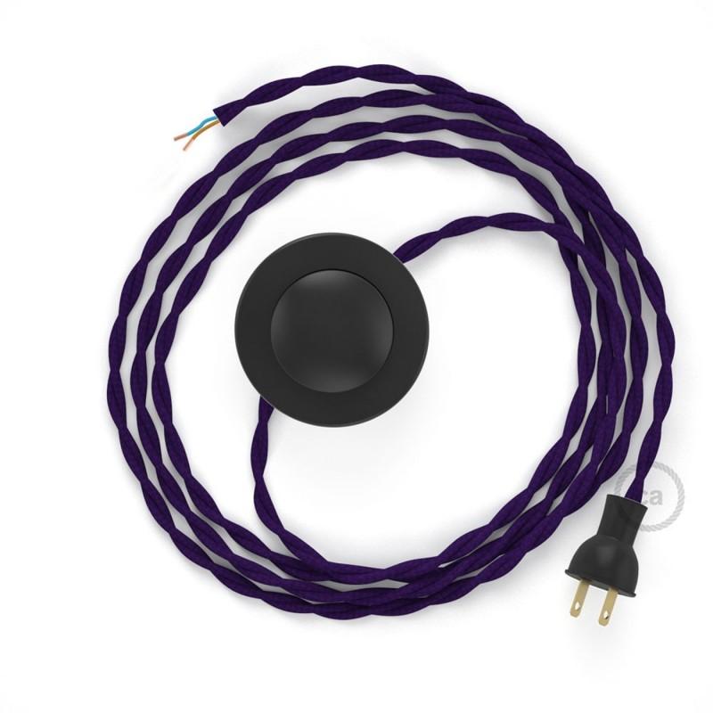 Cableado para lámpara de piso, cable TM14 Rayón Púrpura 3 m. Elige tu el color de la clavija y del interruptor!
