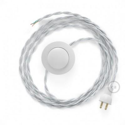 Cableado para lámpara de piso, cable TM02 Rayón Plateado 3 m. Elige tu el color de la clavija y del interruptor!