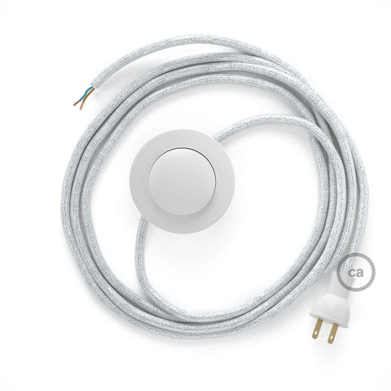 Cableado para lámpara de piso, cable RL01 Rayón Brillante Blanco 3 m. Elige tu el color de la clavija y del interruptor!