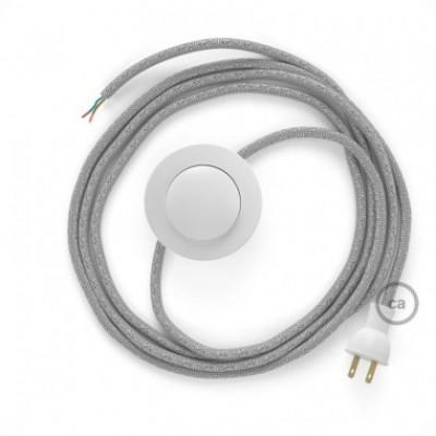 Cableado para lámpara de piso, cable RL02 Rayón Brillante Plateado 3 m. Elige tu el color de la clavija y del interruptor!