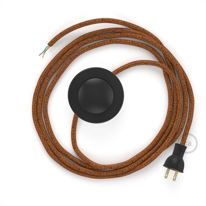 Cableado para lámpara de piso, cable RL22 Rayón Brillante Cobre 3 m. Elige tu el color de la clavija y del interruptor!