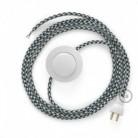 Cableado para lámpara de piso, cable RP04 Rayón Bicolor Negro 3 m. Elige tu el color de la clavija y del interruptor!