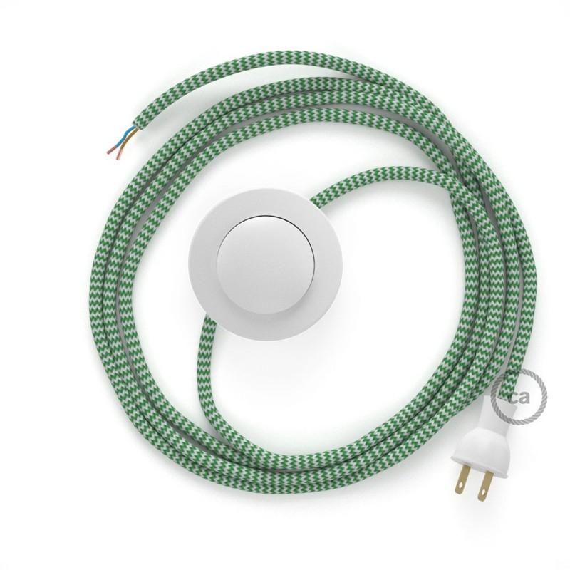 Cableado para lámpara de piso, cable RZ06 Rayón ZigZag Blanco Verde 3 m. Elige tu el color de la clavija y del interruptor!
