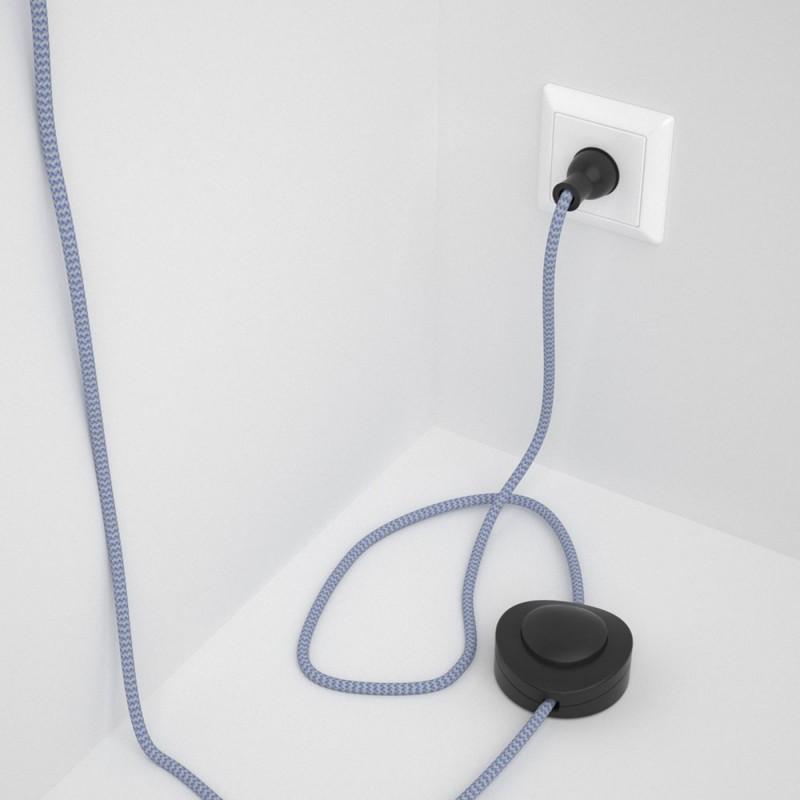 Cableado para lámpara de piso, cable RZ07 Rayón ZigZag Blanco Lila 3 m. Elige tu el color de la clavija y del interruptor!