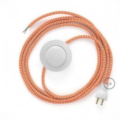 Cableado para lámpara de piso, cable RZ15 Rayón ZigZag Naranja 3 m. Elige tu el color de la clavija y del interruptor!