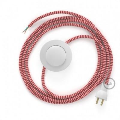 Cableado para lámpara de piso, cable RZ09 Rayón ZigZag Blanco Rojo 3 m. Elige tu el color de la clavija y del interruptor!