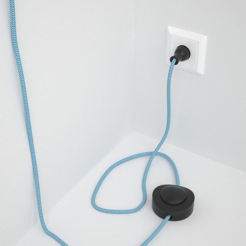 Cableado para lámpara de piso, cable RZ11 Rayón ZigZag Celeste 3 m. Elige tu el color de la clavija y del interruptor!
