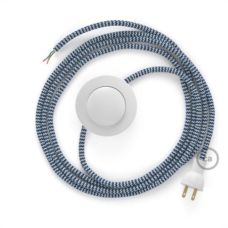 Cableado para lámpara de piso, cable RZ12 Rayón ZigZag Blanco Azul 3 m. Elige tu el color de la clavija y del interruptor!