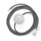 Cableado para lámpara de piso, cable RZ04 Rayón ZigZag Blanco Negro 3 m. Elige tu el color de la clavija y del interruptor!
