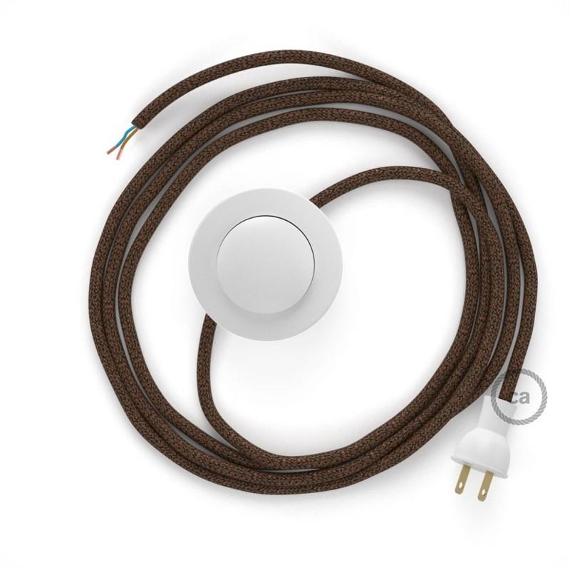 Cableado para lámpara de piso, cable RL13 Rayón Brillante Café 3 m. Elige tu el color de la clavija y del interruptor!