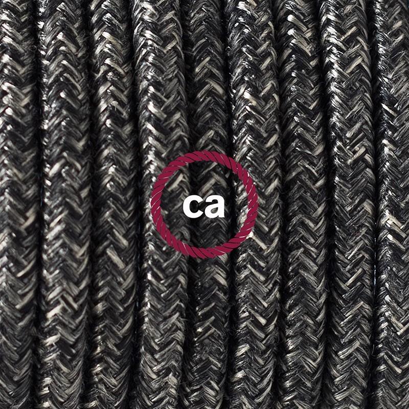 Cableado para lámpara de piso, cable RN03 Lino Natural Antracita 3 m. Elige tu el color de la clavija y del interruptor!