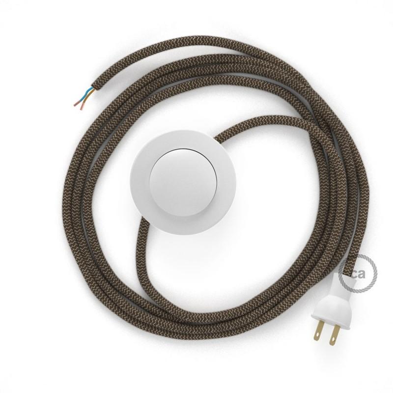 Cableado para lámpara de piso, cable RD73 ZigZag Corteza 3 m. Elige tu el color de la clavija y del interruptor!