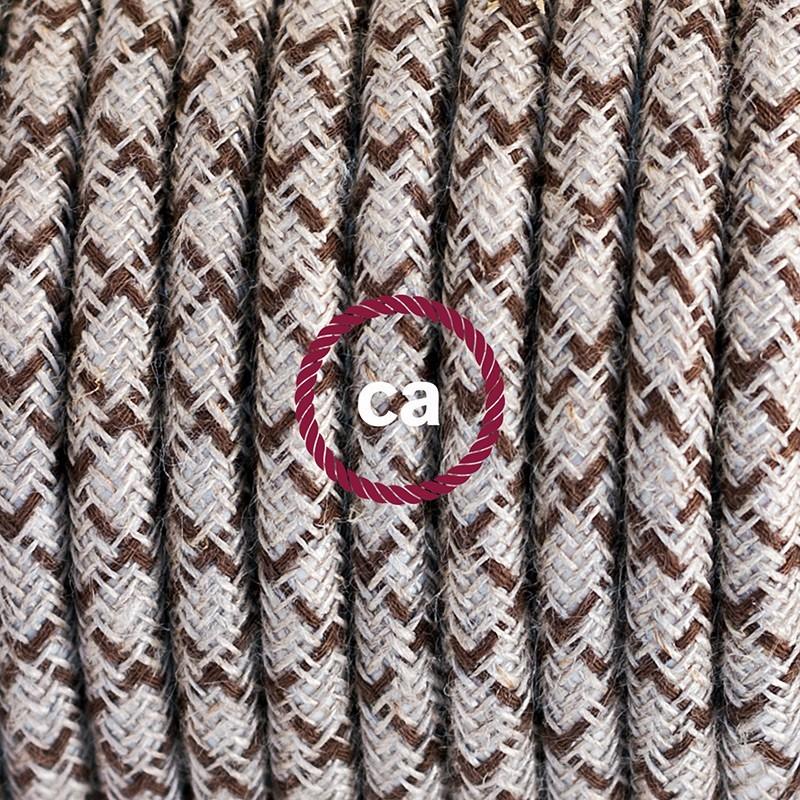 Cableado para lámpara de piso, cable RD63 Rombo Corteza 3 m. Elige tu el color de la clavija y del interruptor!