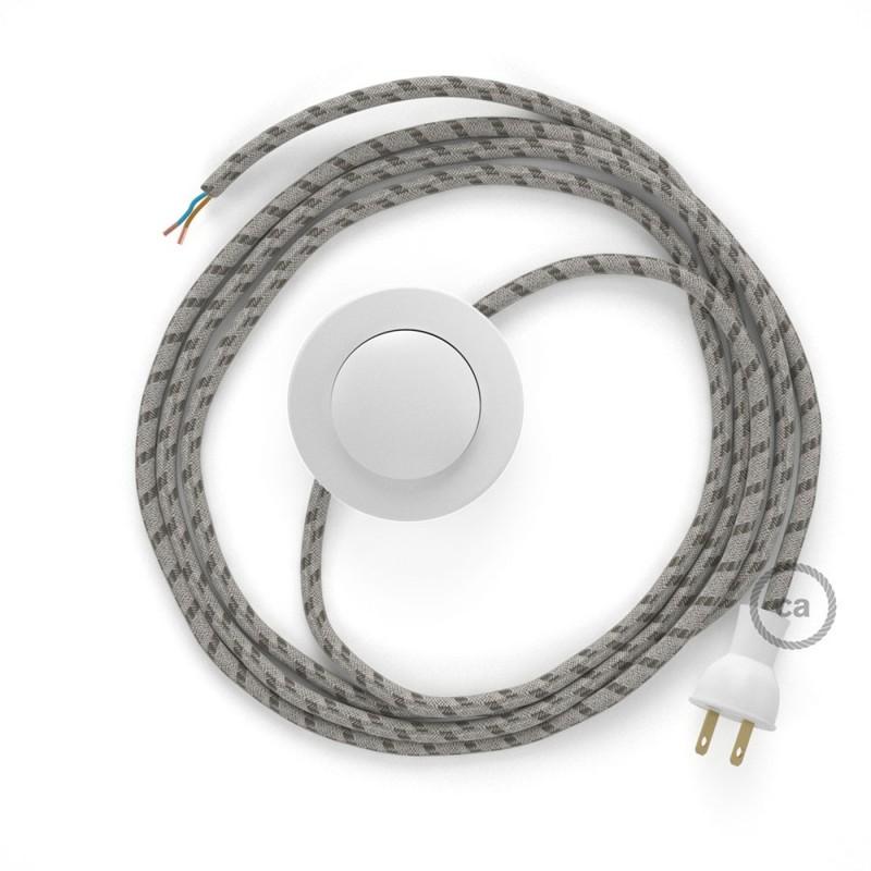 Cableado para lámpara de piso, cable RD53 Rayas Corteza 3 m. Elige tu el color de la clavija y del interruptor!