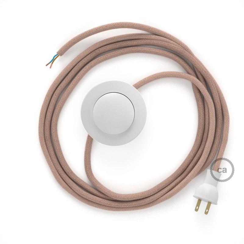 Cableado para lámpara de piso, cable RD71 ZigZag Rosa Viejo 3 m. Elige tu el color de la clavija y del interruptor!
